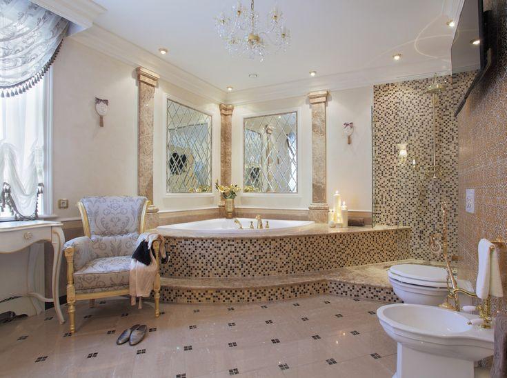 65 Идей угловых ванн в интерьере: всё о существующих видах, размерах и формах http://happymodern.ru/uglovye-vanny-65-foto-uyutnaya-roskosh/ Угловая ванна в интерьере классического стиля