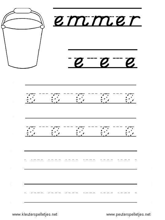 LETTER E | letters leren herkennen en schrijven, alfabet printbladen a t/m z