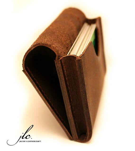 Cuir tanné carte bancaire titulaire/portefeuille Orange/brun Handstitched Veg avec fil de lin ciré