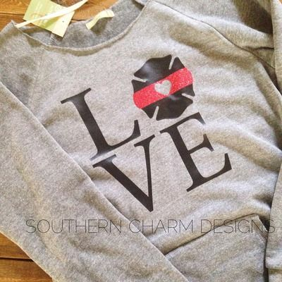Thin Red Line TRL Firefighter Love Slouchy Sweater from Southern Charm Designs