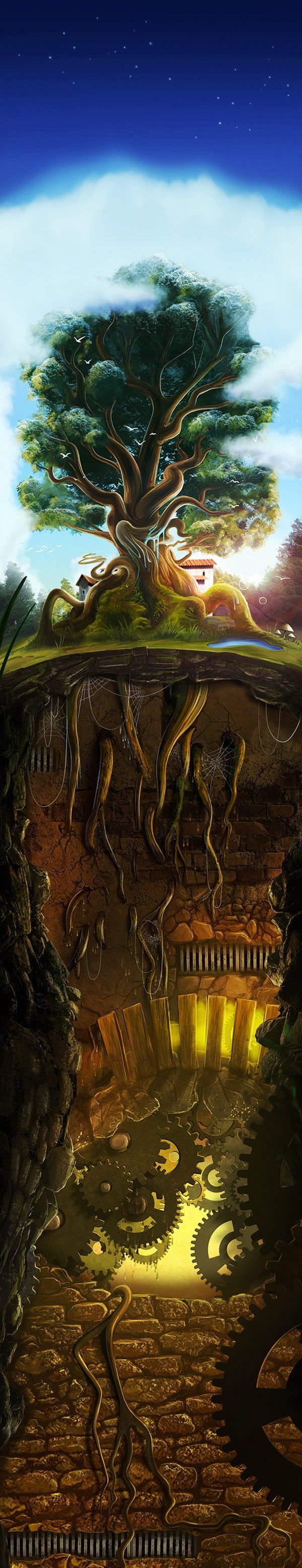 Beneath ground. I love the idea of this drawing but I would have put somthing a little different underground....