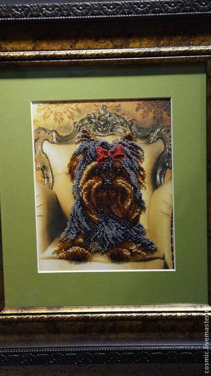 """Принцесса """"Йокширская"""" - коричневый,собака,Вышивка бисером,картины бисером"""