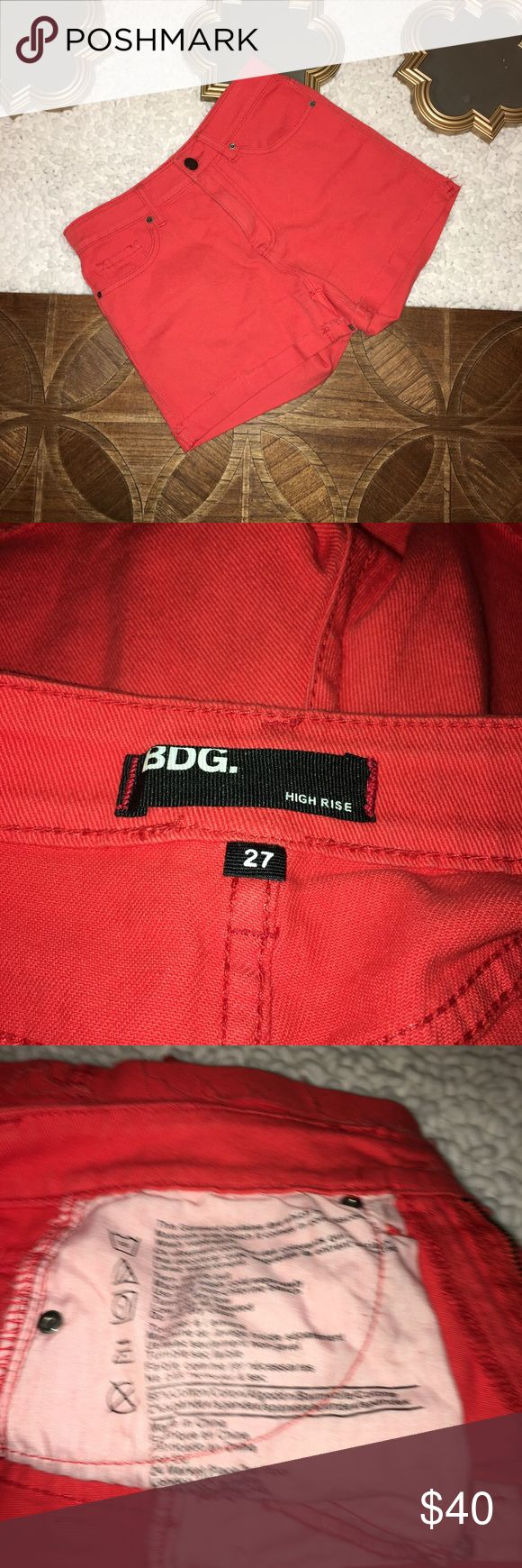 """Urban Outfitters Coral Red High Waist Shorts Urban Outfitters BDG Women's High Rise Shorts. Coral red. Size 27.  Waist: 27"""" around  Length: 13"""" Urban Outfitters Shorts Jean Shorts"""