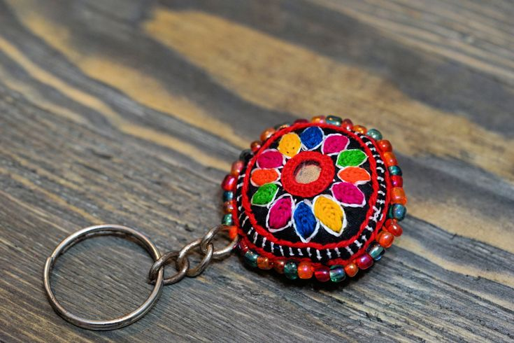 Circle Hand embroidred keychain,Cute keychain,Handmade keychain,Colorful keychain,Flower keychain,Keychain,Tribal keychain,Free shipping by ZsTribalTreasures on Etsy