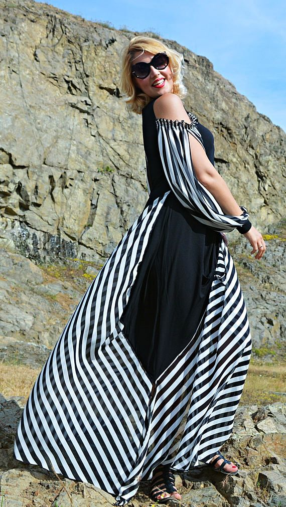 Extravagant Striped Dress TDK265, Summer Maxi Dress, Black and White Dress, Striped Plus Size Dress, Summer Long Dress, WILDFLOWER
