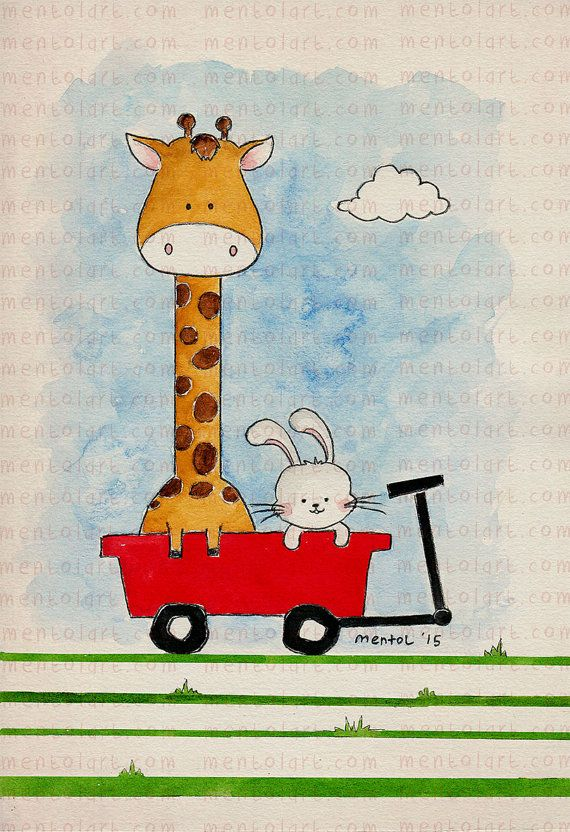 Children room decor, kids art, girls room pictures, nursery art, home decoration -- Girrafe and Rabbit -- by. MentolArt