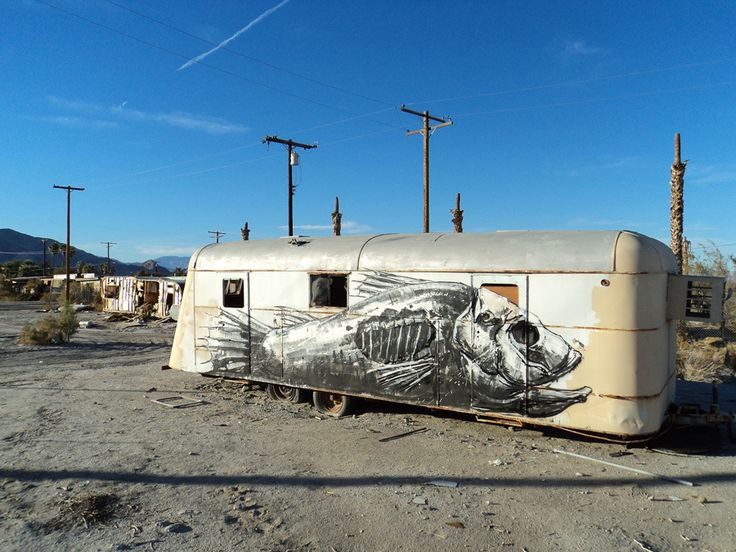 Desert fish van. Mural by ROA. #graffiti