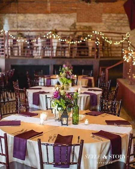 What gorgeous rustic weddings are made of. Magical lights plum and white color palette and natural accents.      @stylestorycreative