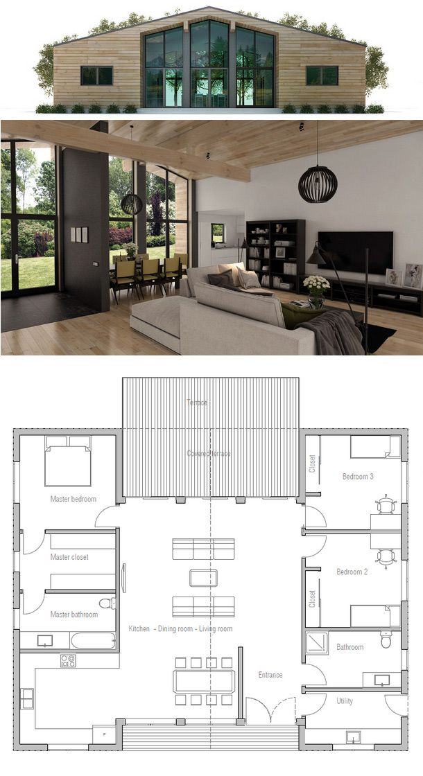 Small House Plan | except use entire right side for master suite, put laundry next to kitchen, then powder room, then guest room