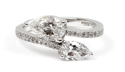 Cross Over Style Pear Shape Diamond Engagement Ring