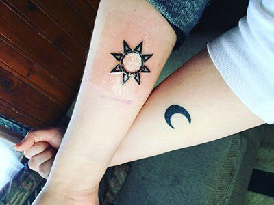 The Sun and The Moon matching Friendship Tattoos