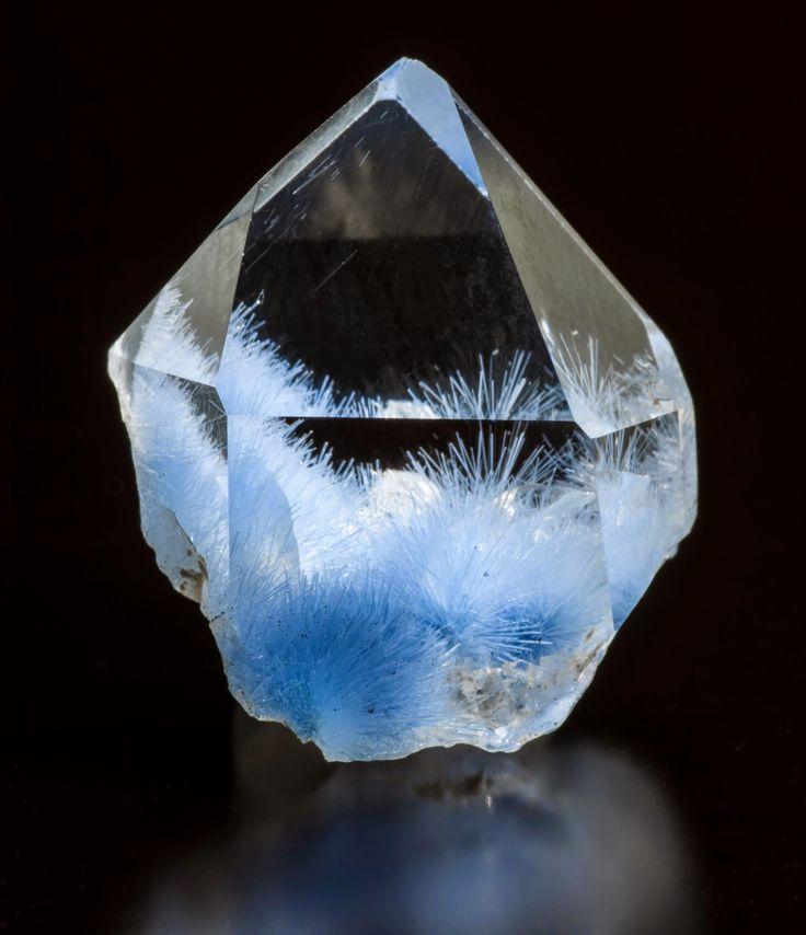Quartz with Dumortierite Inclusions, fibrous sky blue radial starbursts! #pixiecrystals we love fibrous minerals, especially blue ones!