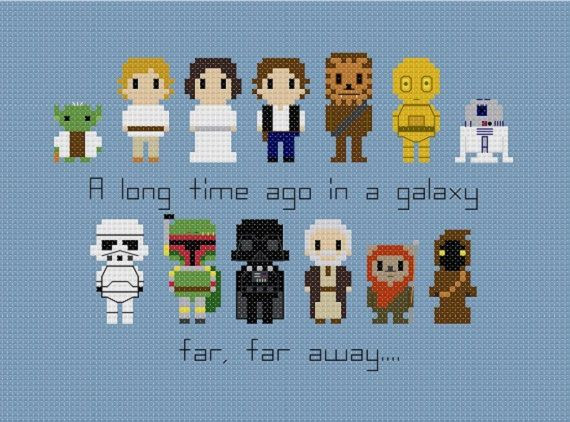This pattern features Star Wars characters: Yoda, Luke, Leia, Han, Chewbacca, C-3PO, R2-D2, Darth Vader, Boba Fett, a Stormtrooper, a Jawa, Wicket