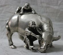 US $99.00 [Chinese antiques world ] Free shipping Chinese Folk Culture HandMade Silver Bronze statue Bull cowhand Boy Sculpture 004. Aliexpress product