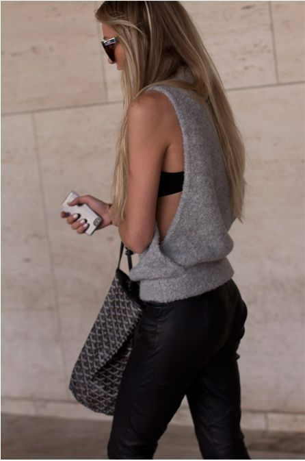 sleeveless sweater + leather