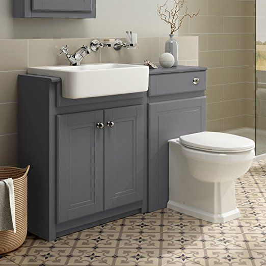 Ibathuk 1100mm Combined Vanity Unit Toilet Basin Grey Bathroom Furniture Storage Sink Bathroom Furniture Storage Grey Bathroom Furniture Bathroom Sink Units