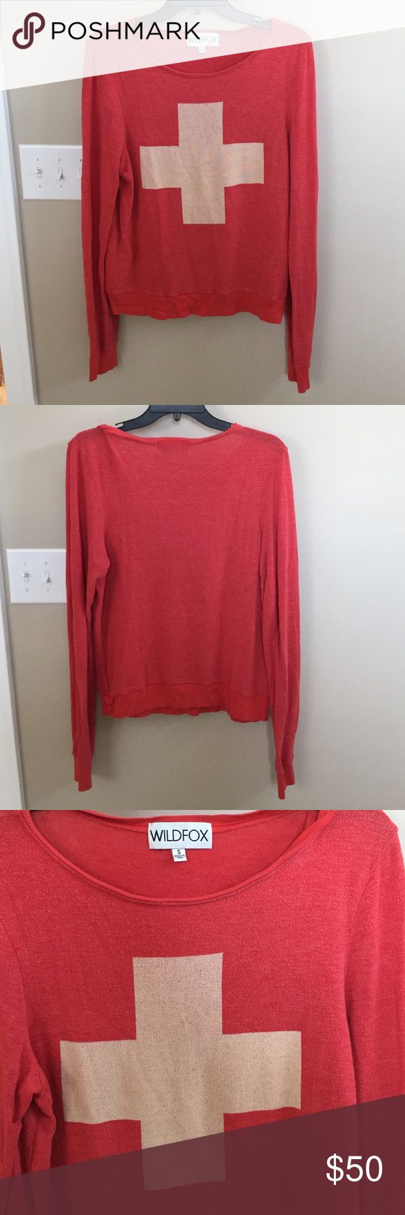 Wildfox Lifeguard Beach Baggy Jumper Red and off white lifeguard sweater. Great condition, slight pilling like all beach baggy jumpers after a couple of washes. Worn about 5-7 times. Wildfox Sweaters