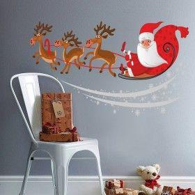 Vánoční dekorace na zeď - Santa na saních