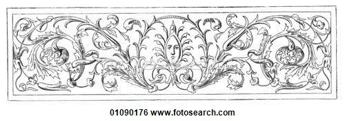 Stock Illustration of Patterns & Motifs - Italy - line art Ornament by Giulio Romano in the Palazzo del Te at Mantua c.1480 01090176 - Search Clip Art, Drawings, Fine Art Prints, Illustrations, and Vector EPS Graphics Images - 01090176.TIF