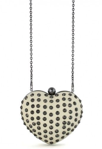 Studded Heart Clutch Bag