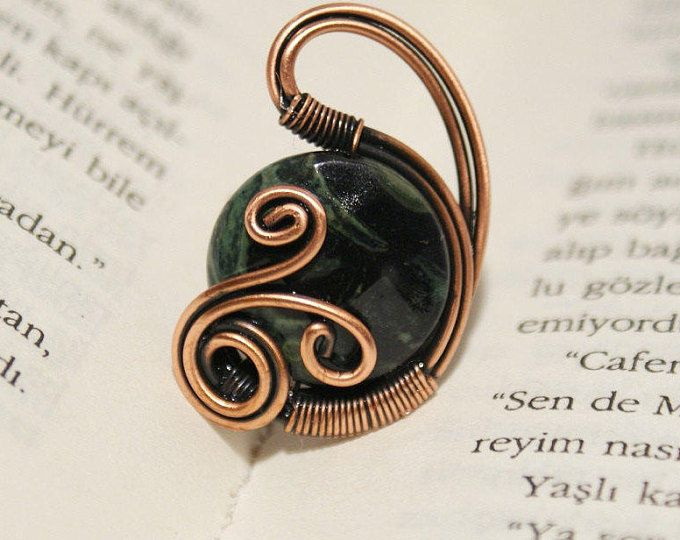 diaspro verde anello gemma anello filo avvolto gioielli filo di rame fatti a mano gioielli filo avvolto anello fatto a mano