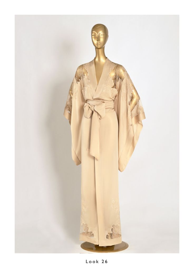 Caine Gilson 2015 Bridal Nude/Nude Long Kimono Silk Satin with Lace