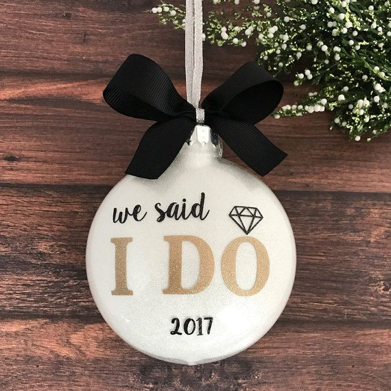 Our First Christmas Ornament Married, Just Married Ornament, Personalized Wedding Ornament, Wedding Christmas Ornament, Newlywed Gift, I Do