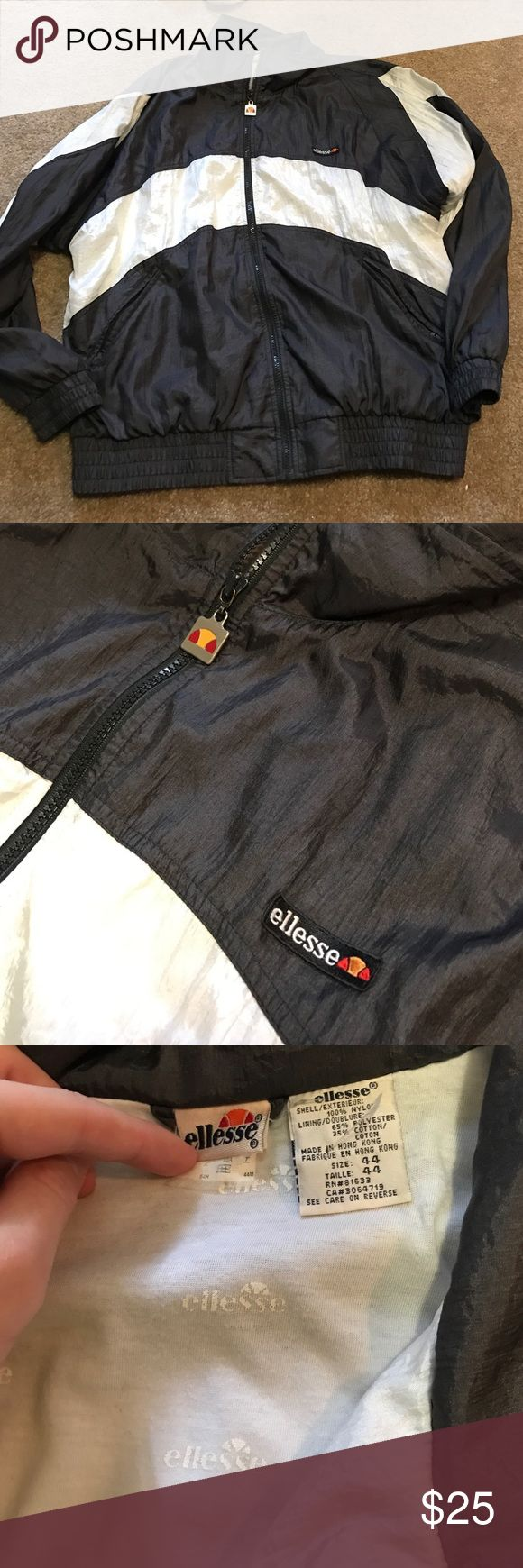 Vintage ellesse windbreaker jacket rare old This is a vintage ellesse windbreaker and is really rare. They don't make these anymore and this is probably from the 1990s. This price is unbelievable considering the age and great condition of this piece. It is a size 44 which is usually like a XL but fits more like a Large. Won't last long Ellesse Jackets & Coats Windbreakers