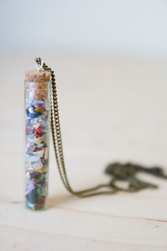 Multi Healing Crystals in Vial - Long Necklace - Healing Crystal Jewelry