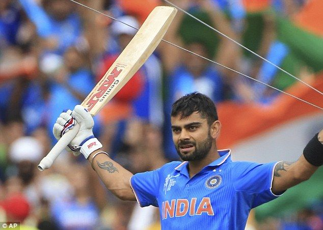 Virat Kohli celebrates his century during India's convincing win over Pakistan...