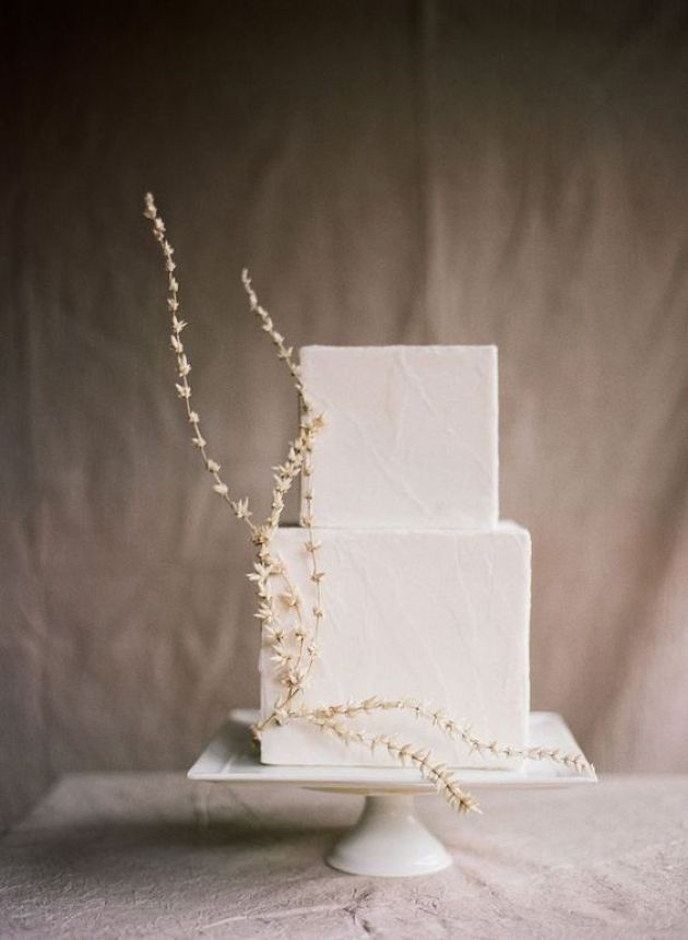 White Textural Square Wedding Cake With Subtle White Blooms