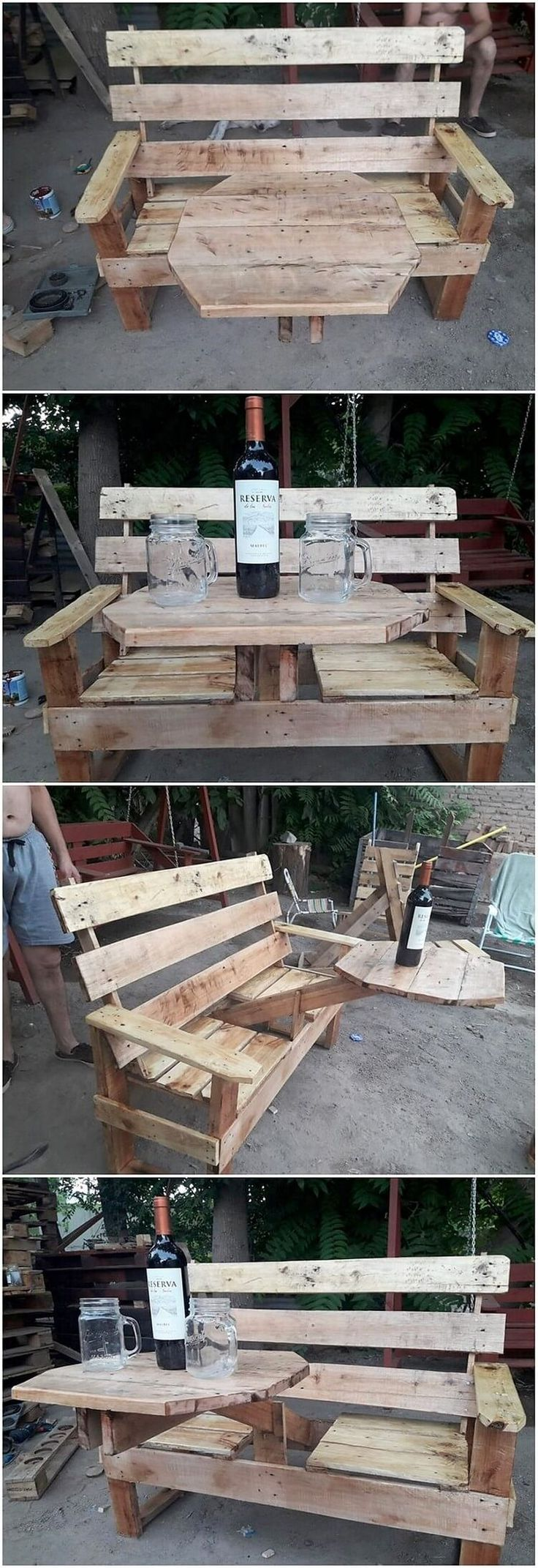 This is a pallet bench creation work that is so elegantly designed out. It is being functionally added with the wine rack table work inside it, that make it overall come out to be a complete furniture idea for your house use.