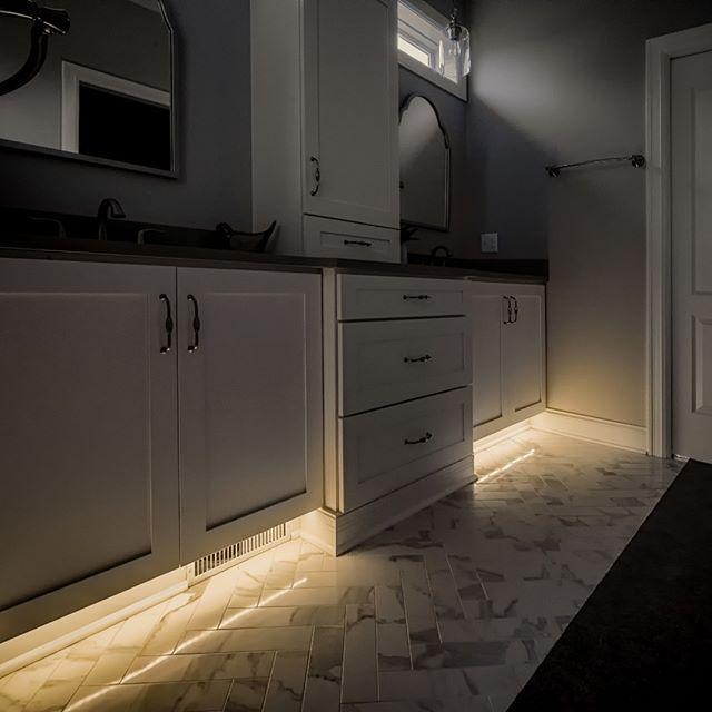 Bathroom Toe Kick Lighting By Utilizing A Very Warm 2200k