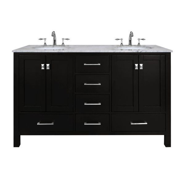 """An ideal complement to a contemporary decor, the 60"""" Double Sink Vanity embodies the clean edges and sophistication of modern design. The cabinet, made of solid oak lends a warm feeling to your bathroom that contrasts beautifully with the carrara white marble top. Sleek and simple stainless steel hardware dresses up the European soft-closing sliders and doors, which give you ample space to store your bathroom items. wayfair"""