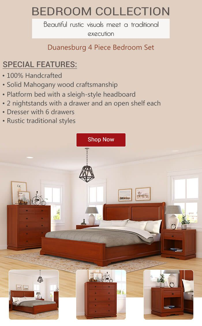 Beautiful Rustic Visuals Meet A Traditional Execution In The Design Of Our Duanesburg Solid Mahogany Wood 4 Piece Be Bedroom Set Headboard Styles Wood Bedroom