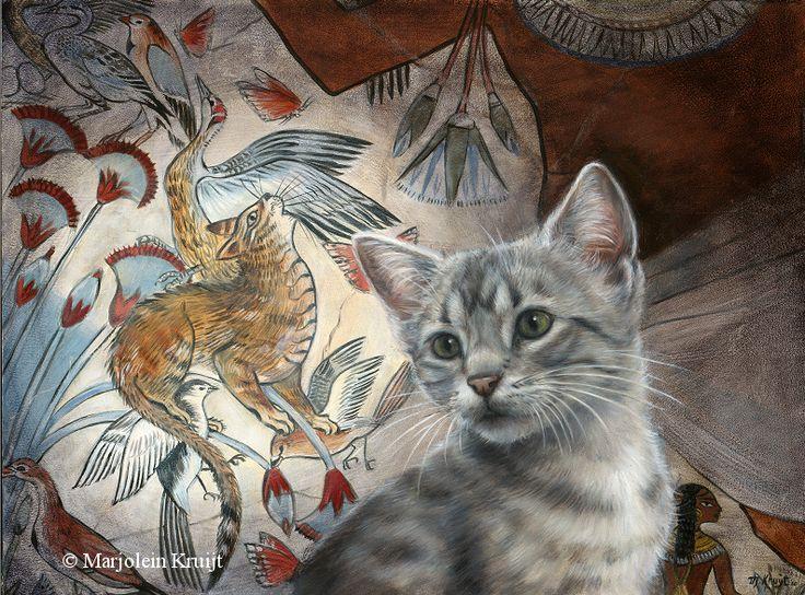Artikel over het ontstaan van kattenkunst (katten in de kunst) door Marjolein Kruijt. Katten komen we toegepast of symbolisch tegen. Egyptische hiërogliefen