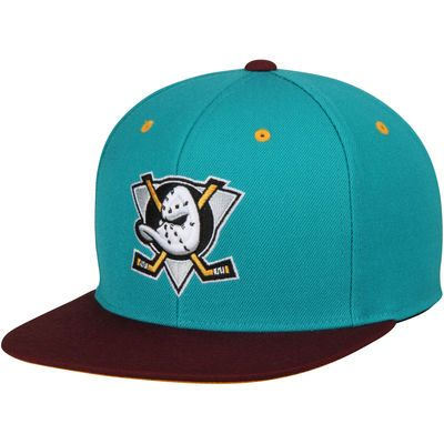 Anaheim Ducks Mitchell & Ness Vintage 2-Tone High Crown Fitted Hat - Teal