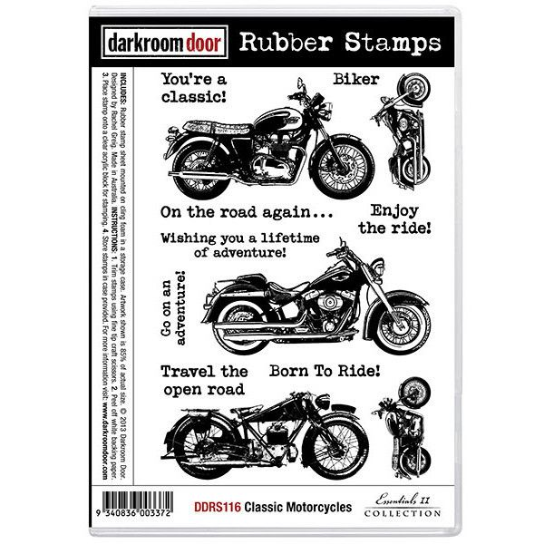 Rubber Stamp Set - Classic Motorcycles - Darkroom Door