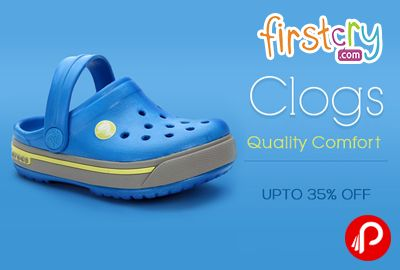 Firstcry is offering Upto 35% off on Clogs Footwears including Chhota Bheem, Crocs, Cute Walk by Babyhug, Disney, Garfield Brands.  http://www.paisebachaoindia.com/clogs-shoes-upto-35-off-firstcry/