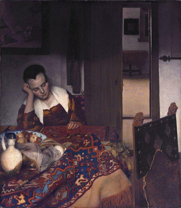 het slapende meisje van J Vermeer
