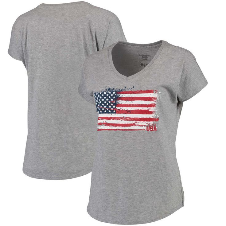 Team USA Women's 2016 Olympics Spark Flag Tri-Blend T-Shirt - Gray