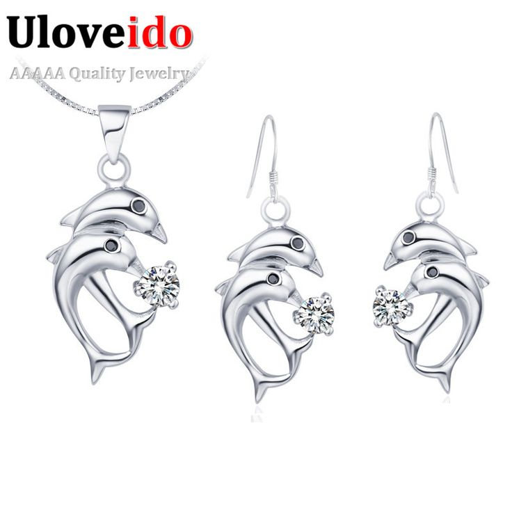 Find More Jewelry Sets Information about Zircon 925 Silver Jewelry Set Earrings Wedding Purple White Rhinestones Women's Necklace Dolphin Brincos Grandes 2015 Ulove T034,High Quality necklace fittings,China necklace wolf Suppliers, Cheap necklace parties from Ulovestore Jewelry on Aliexpress.com