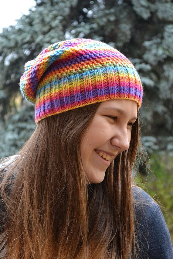Knitted multicolor acrylic beani cap hat rainbow colors very warm winter accessories