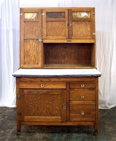 Vintage Kitchen Hoosiers Antique Oak Hoosier With Porcelain Top By Er Furniture Collections Cabinet Antiques