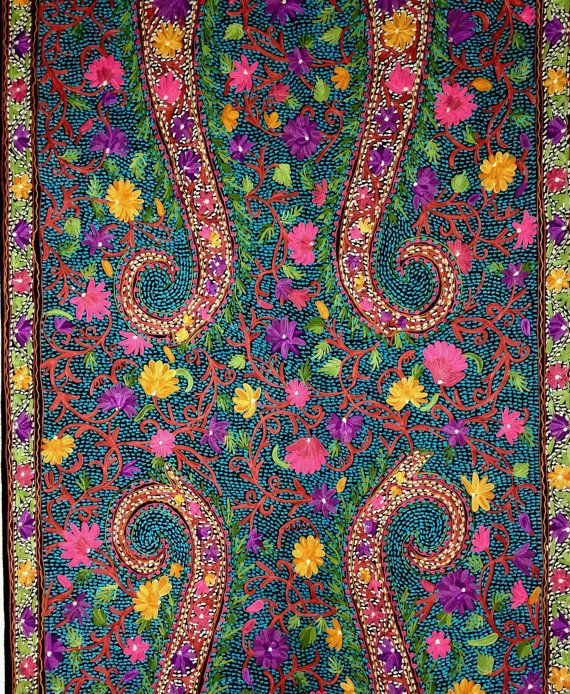 KASHMIR EMBROIDERED SHAWL Handmade Pure wool by KashmirCouture