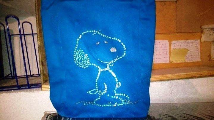 PEANUTS SNOOPY  CHARLS M SCHULZ  borsa blu in tessuto nuova con etichette