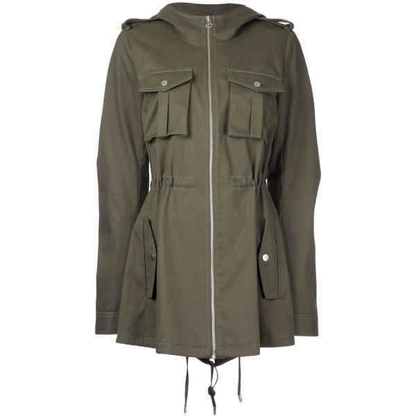 Dion Lee cargo parka jacket ($1,400) ❤ liked on Polyvore featuring outerwear, jackets, green, green jacket, cotton jacket, cargo jacket, brown jacket and green parka jacket