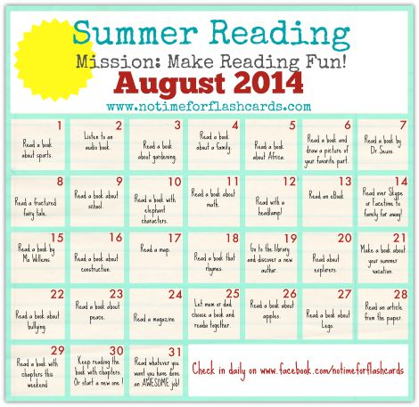 Summer Reading Calendar - FREE Printables - No Time For Flash Cards