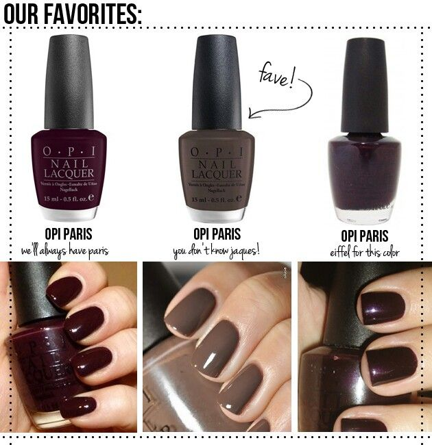 Autumn Nail Colors - for fingers and toes! #Fall #Manicure #Season #Dark #Colors  I have the middle color and I love it!!!! Have it on my toes right now, no joke haha ~Rachel