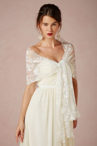 Elizabeth Gillett - Nicolette Wrap . dainty crocheted scallops frame a sheer , bloom-covered wrap . ivory .  http://www.bhldn.com/shop-sale/nicolette-wrap/productoptionids/fbcaeb8b-b90b-4e9a-9313-32da085940dd